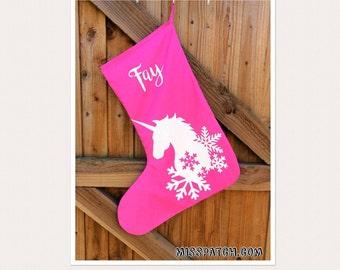 Large Personalised Unicorn Christmas Stocking