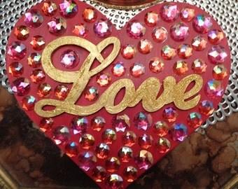 Crystallized w/ Love Wooden Valentine Heart