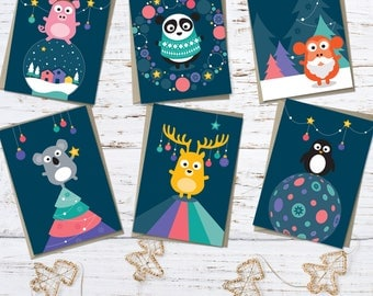 Christmas card pack – 12 high quality cards with 6 different animal character designs