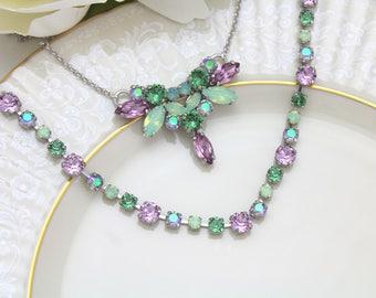 Mint green necklace, Bridal necklace, Purple necklace, Swarovski crystal necklace, Green opal necklace, Bridal jewelry, Green and purple
