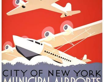 New York Municipal Airports Poster - Vintage Travel Print Art - Home Decor - WPA