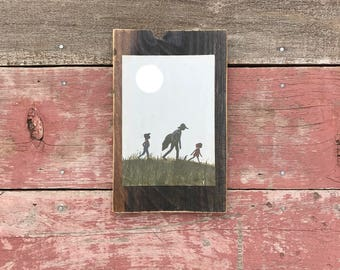 Peace by Piece Reclaimed Wood Children's Book Illustration Wall Art, Picture Frame