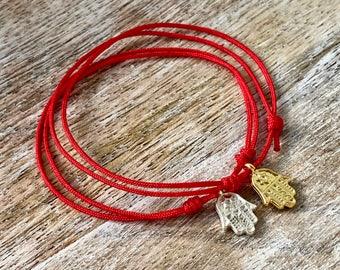 Valentines Gift Red String Hamsa Bracelet Gold Hamsa Bracelet Hamsa Hand Red String Bracelet Gift for Her Hand of Fatima Evil Eye Kabbalah