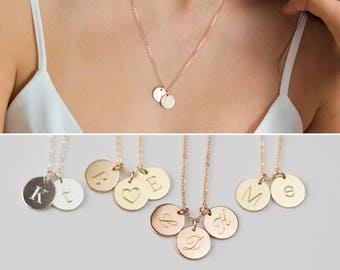 Gold Initial Disc Necklace, Gold Engraved Necklace, Silver Engraved Initial Pendant, Silver Disc Necklace, Custom engraved necklace