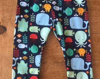 Sea Creatures Cotton Knit Leggings