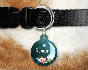 Moon Pet Tag - Girly Pet Tag - Dog Tag For Dogs - Personalized Pet ID Tag - Luna Customized Name Pet Tag - Dog Tag - Custom Dog Tag