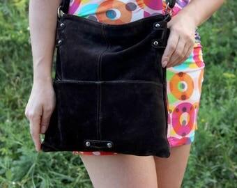 crossbody handbag crossbody bag leather suede Bag Vintage shoulder bag 90's leather bag leather Handbag womens bag Festival Bag Boho Bag