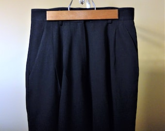 Vintage 1970's LIMITED 100% Pure Wool Navy Blue Pleated High Waist Fully Lined Trousers - Size 6