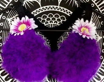 Furry Floral Bra