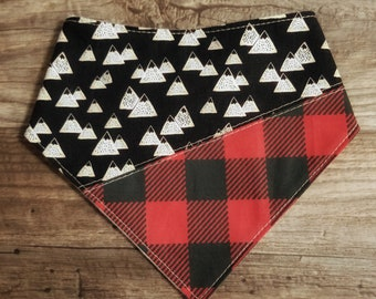 Bandana Bib | Mountains | Modern | Bibdana | Teething | Baby | Drool Bib | Kenton Creations | Buffalo Plaid | Handmade in Canada