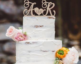 Wedding Cake topper Wood Custom Cake topper  Personalized Cake Topper  Wedding Initials Cake topper wood  silver or gold