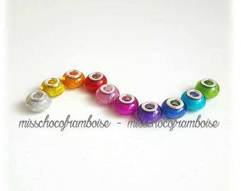 Set of 10 acrylic European beads glitter
