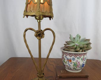 Cast Iron Baroque Desk Lamp With Ornate Iron Shade, Black And Gold, Heart  And