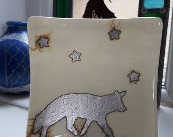 Fox. Fused glass dish. Sterling silver foil. Stars. Vanilla. Trinket dish, tealight holder Soap dish