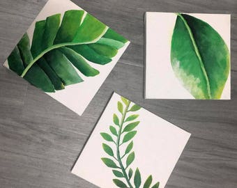 Set of 3 Leaf Wall Art, Plant Painting, Plant Art, Wall Decor, Home decor, Plant Art, Jungle Leaf Painting, Painting on Canvas, Vine art