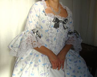 Historical dress 18th century century Marie-Antoinette cotton floral full skirt suit