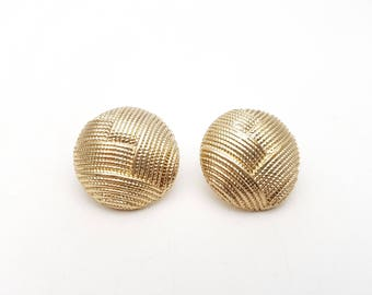 Vintage Pierced Earrings Round Detailed Gold Tone Metal Circle Stud Geometric Drop Modernist Mod Retro Classic Feminine Statement