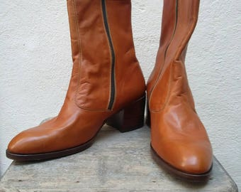 Vintage 1970s Men's Brown Cuban Heeled Boots UK 8