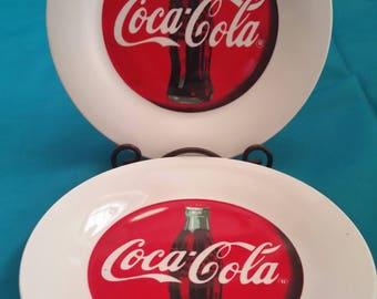 Coca-Cola Luncheon Plates/Coca-Cola Dessert Plates/Coca-Cola Salad Plates/Coca-Cola Plates by Gibson/Set of 2