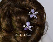 Rustic jewelry Butterfly hairpins Purple Bronze hair accessories women Flower Birthday hair pin Bridal decorative hairpick Violet wire resin