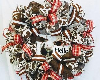 Cow Wreath, Farmhouse Wreath, Cow Decor, Front Door Wreath, Farmhouse Decor, Cow lovers gift, Farm Wreath, Cow Wall Decor, Farm Animal Decor
