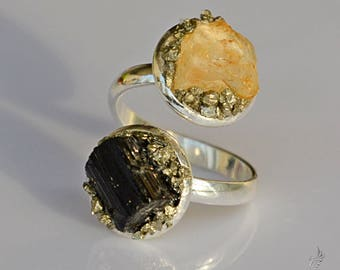 October & November Birthstone Ring - Black Tourmaline Ring - Protection Ring - Yellow Topaz Ring