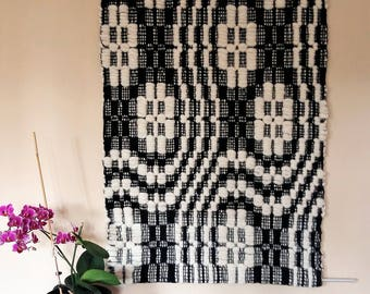 wall decoration pure wool handwoven, black and white, handwoven in a traditional way, wall hanging black and white, tapestry,swedish pattern