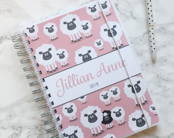 Personalised 2018 A5 Planner/Diary with or without tabbed dividers - Pink Sheep