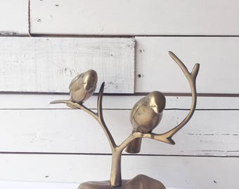 Vintage brass birds tree branch statue | bird figurine