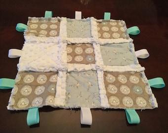 Baby lovey rag blanket, taggy blanket, minky, rag quilt