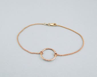 Wonderful Minimalist Handmade In-House Hammered 14kt Rose Gold Circle Bracelet // Circle Hoop Woven Chain // Hand Made Design #2391