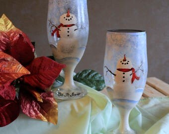 Snowman Solar Light Christmas Decoration or Night Light - Hand Painted - Set of 2