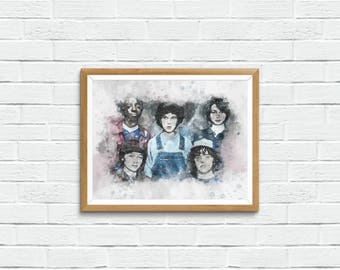 Stranger Things Print with Eleven, Mike, Will, Dustin and Lucas - Perfect Stranger Things Gift, Netflix, Stranger Things Art, Stranger Thing