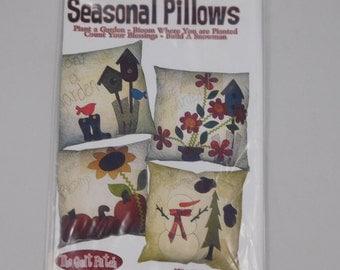 Seasonal Pillows Sewing Pattern, Bird, Garden, Harvest, Snowman