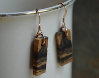 Marbled Ebony Wood Earrings