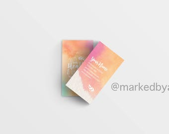 DIGITAL FILE ONLY - Plexus Business Card Vertical - Let's Make Health and Happiness Happen (Rainbow Watercolor)