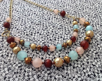 Vintage Retro Beaded Necklace with Gold Tone Chain