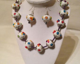 Multi Color Clay Necklace Earring Set