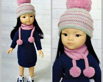 Paola Reina hat and scarf, Paola reina outfit, Paola Reina, Paola Reina clothes, Corolle Les Cheries, 13 inch dolls, knitted, hat, scarf