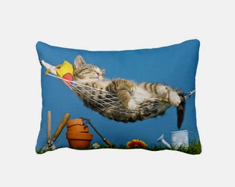 Sweet Lazy Cat in Garden Cushion - Decorative Pillow