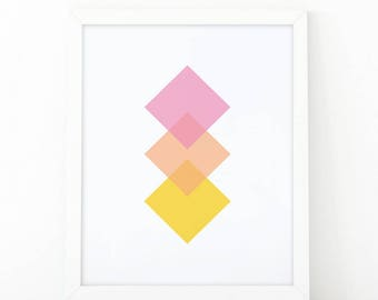 diamond colorful,  minimalist art, geometric Wall Art, Printable Art, minimalist decor, Set of nursery Prints, Geometric Print, Abstract Art