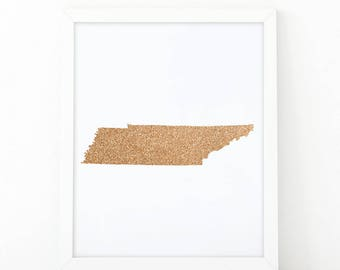 Map of Tennessee, Gold Glitter map, Tennessee State Printable, Wall Art Print, Map Print, State Map Print, Home Wall Art, State ma poster