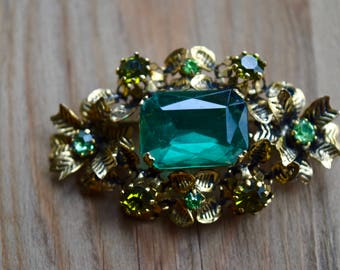 LOVELY Vintage Austrian Signed Crystal Brooch