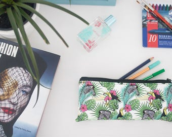 Tropical pencil case - pencil case vegan - Tropical Leaf - Pencil case- Pencil pouch - Tropical - vegan leather - tropical leaf pencil case.