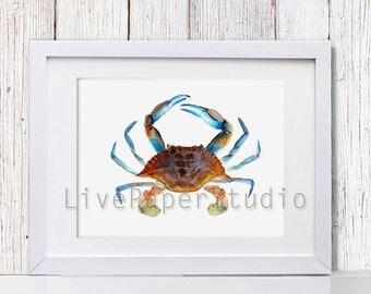Sea Crab Print, Nautical  Nursery Crab Watercolor Painting, Beach Home Decor Nautical Art Ocean Décor, Ocean Sea Print, Ocean Animals