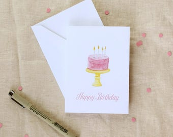 Happy Birthday Card, Birthday Card for Her, Cake Birthday Card, Watercolor Birthday Card, Birthday Card Handmade, Birthday Card for Friend,