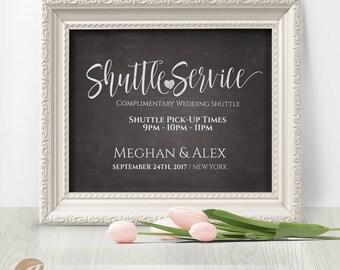 Shuttle Service Sign, Wedding Shuttle Sign, Shuttle Service, Printable Chalkboard Sign, Editable PDF, Instant Download #PTL1_01_25