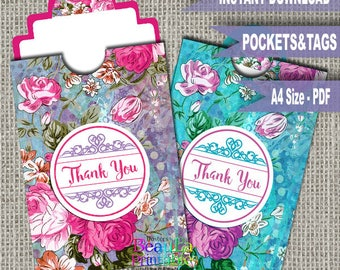 Printable Pocket Thank you Floral Tags, Thank you pocket tag, Thank you gift, Thank you tag and pouch, Printable tags, Vintage Floral tags