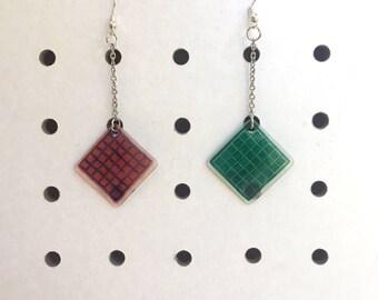 Memphis Geometric Grid Shrinky Earrings