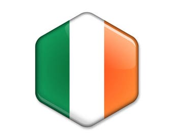 Flag of Ireland Hexagonal Magnet // Irish Tricolour Flag Souvenir // Statement Gift Idea Glossy Six-sided Fridge Magnet